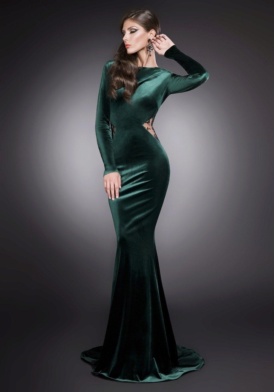 Вечернее платье из велюра и бархата