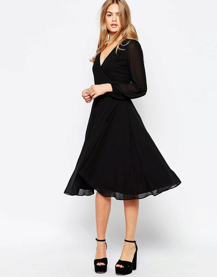 Платье с пышной черной юбкой фото