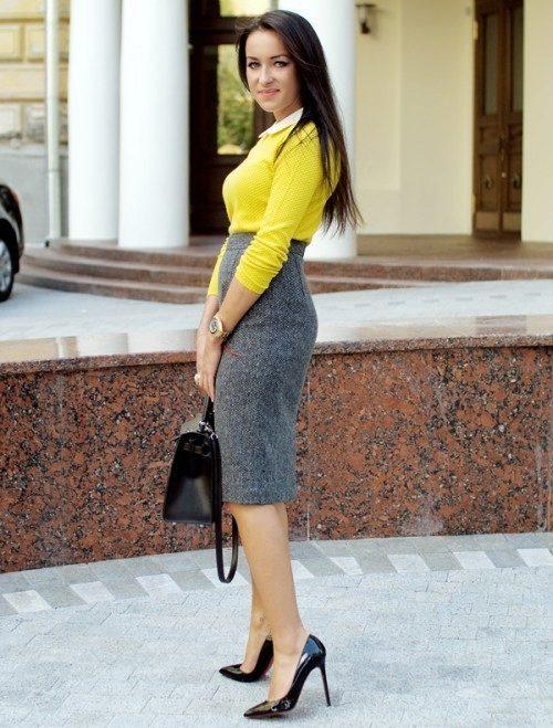 Серая юбка с высокой талией