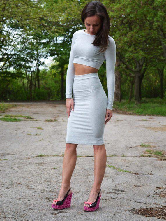 b5567b87d20 Серая юбка карандаш (37 фото)  с чем носить и сочетать
