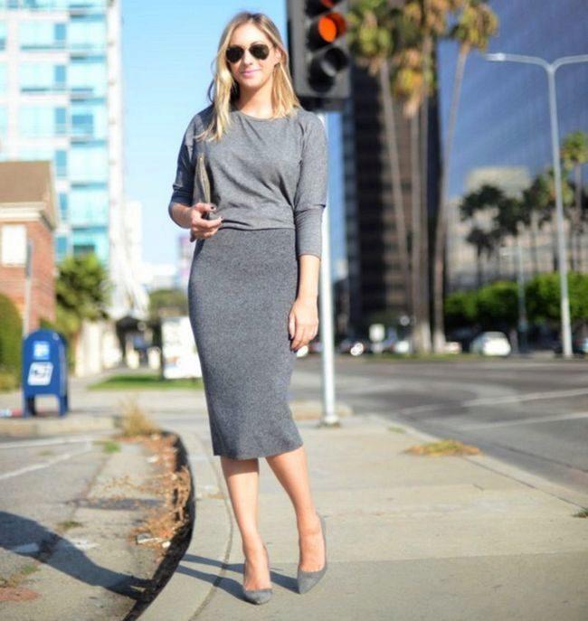 7a37e1cec56 Серая юбка карандаш (37 фото)  с чем носить и сочетать