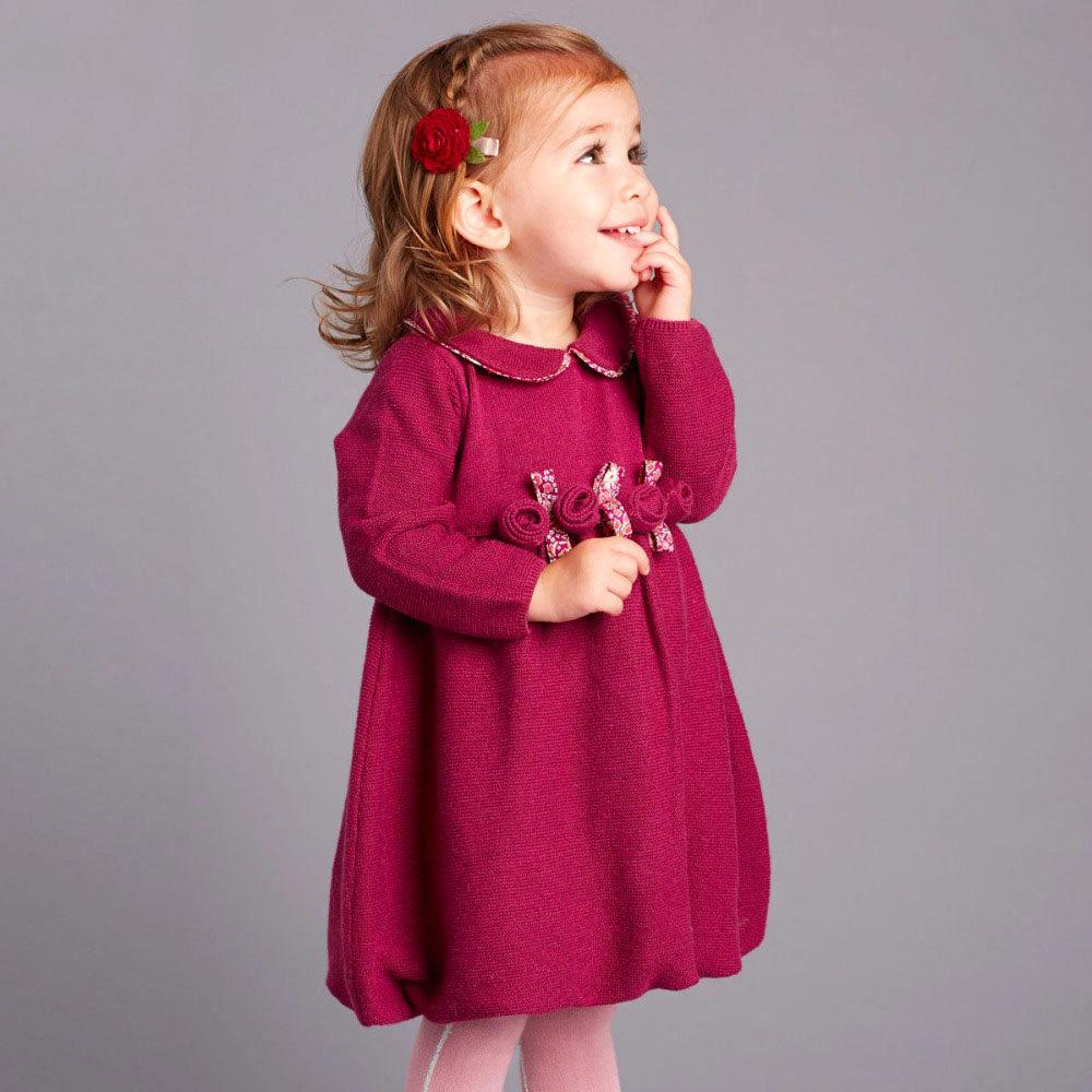 f102fd47a26 Теплые зимние платья для девочек (40 фото)  вязаные и трикотажные ...
