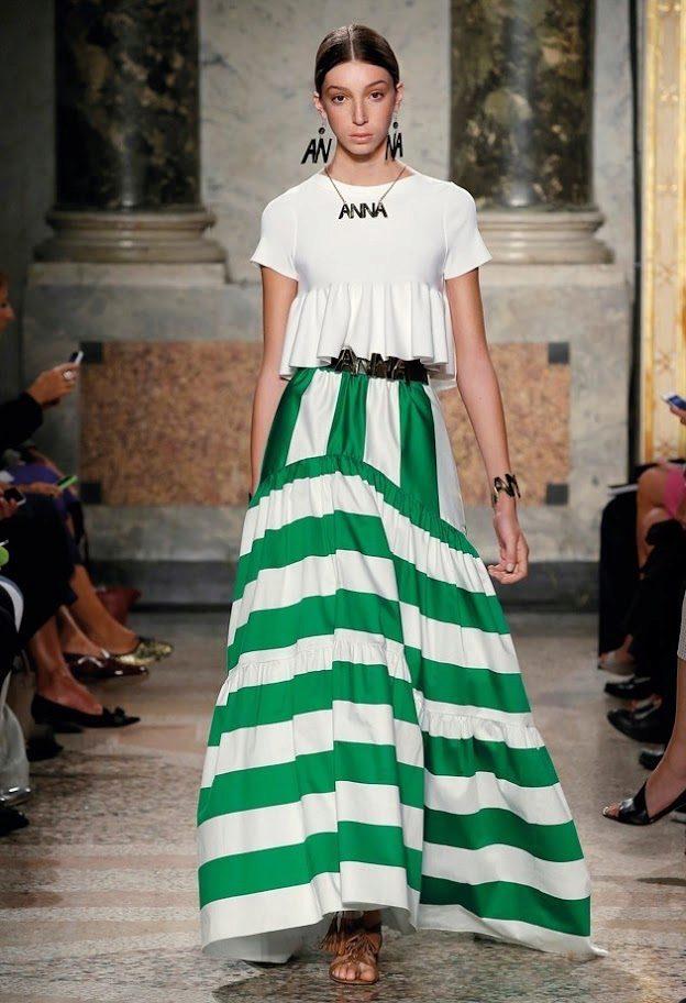 длинная пышная юбка в бело-зеленую полоску