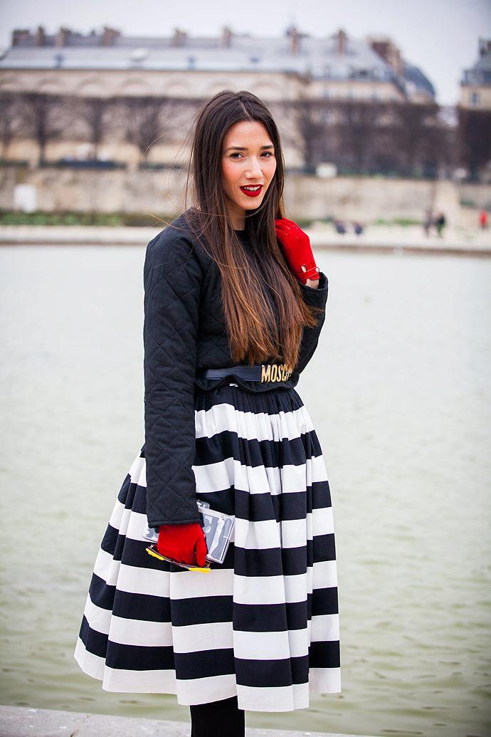 юбка-колокол в крупную полоску