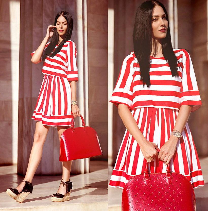 юбка и блузка с разным направлением полосок