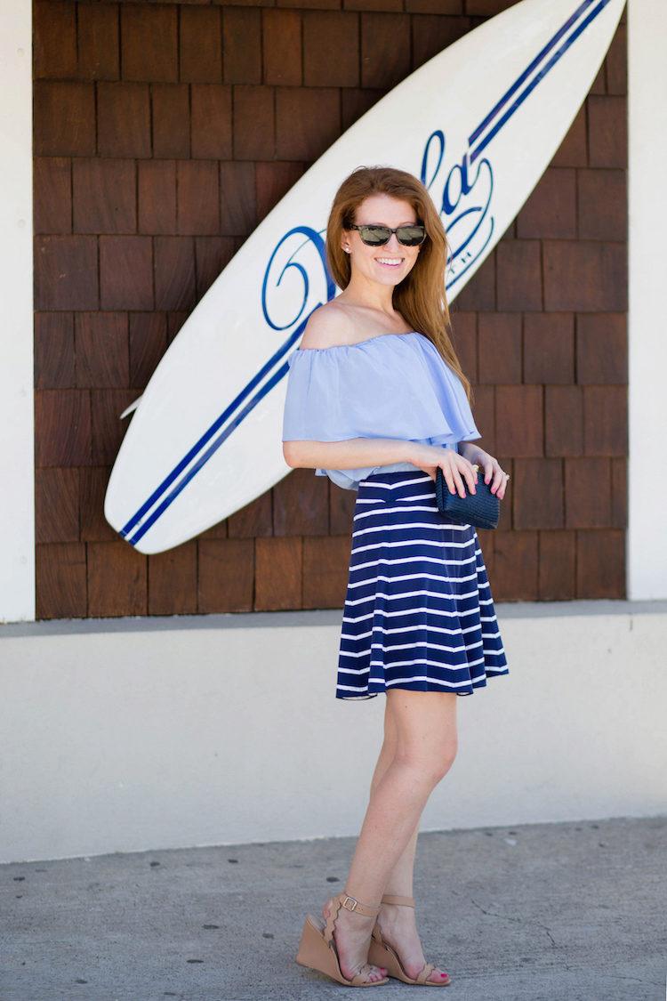Бело-синяя юбка в полоску