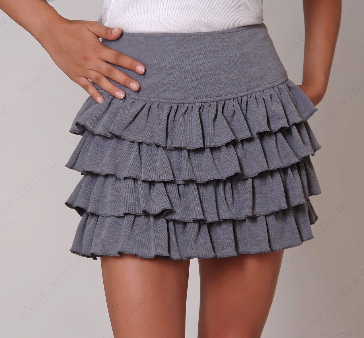 Выкройку юбки с тремя воланами 18