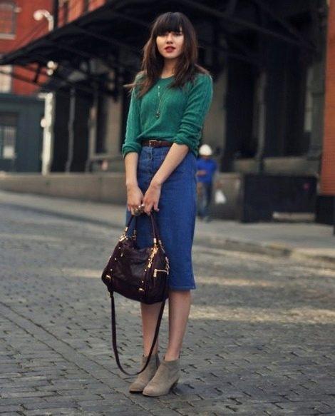Джинсовые юбки ниже колен