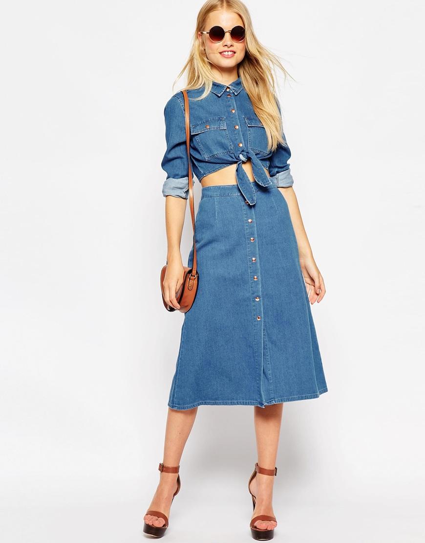 Джинсовое платье трапеция с чем носить
