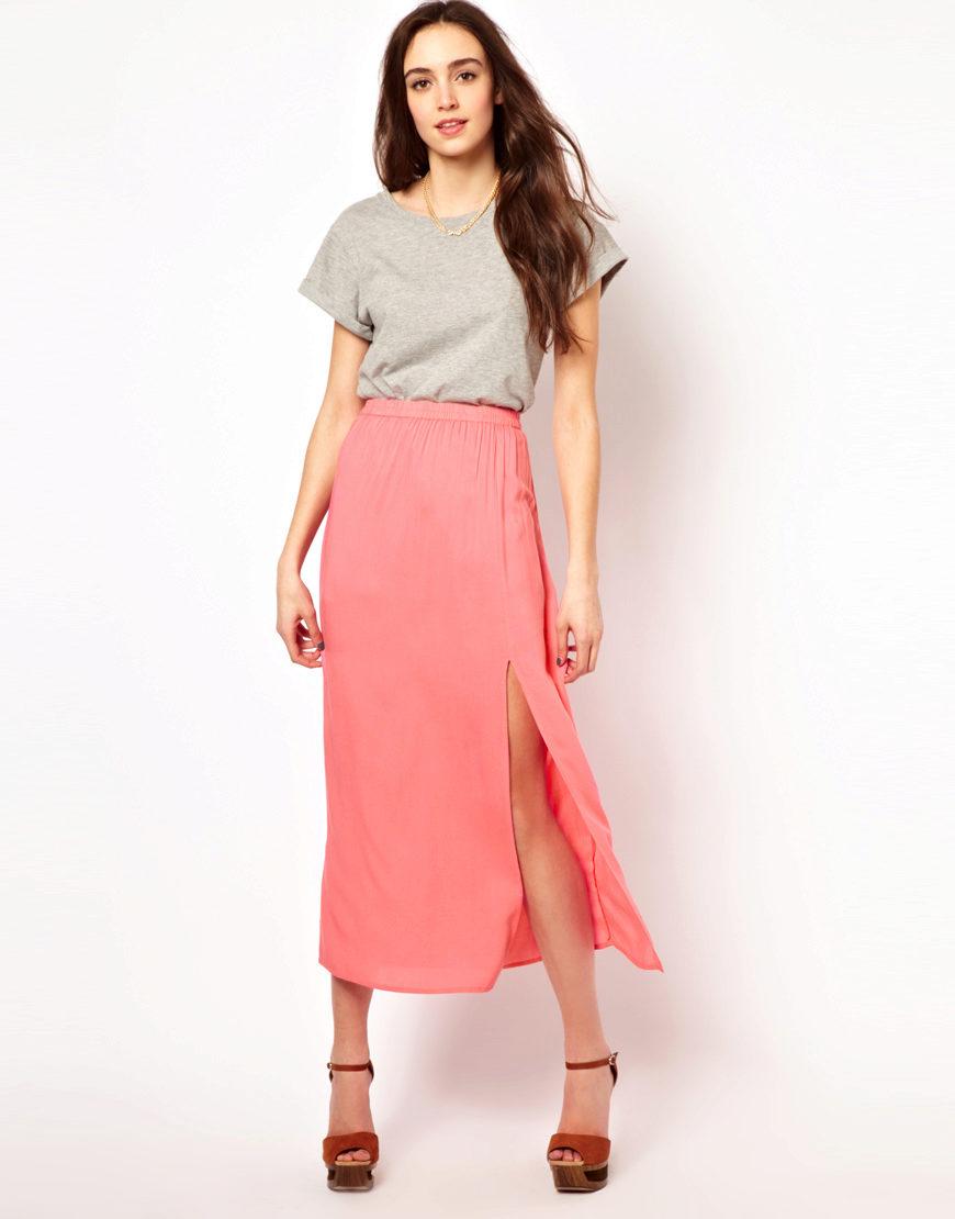 Летние яркие юбки с разрезом