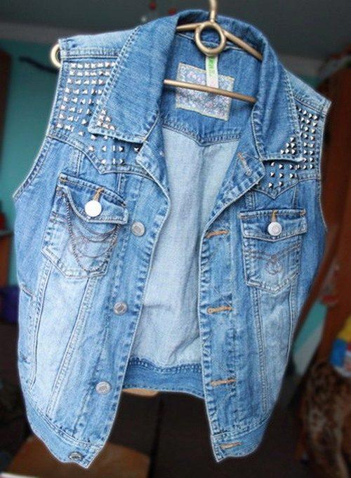 Джинсовая жилетка своими руками из старой куртки