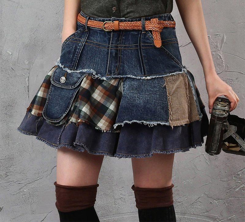 Сшить юбку из джинс и ткани