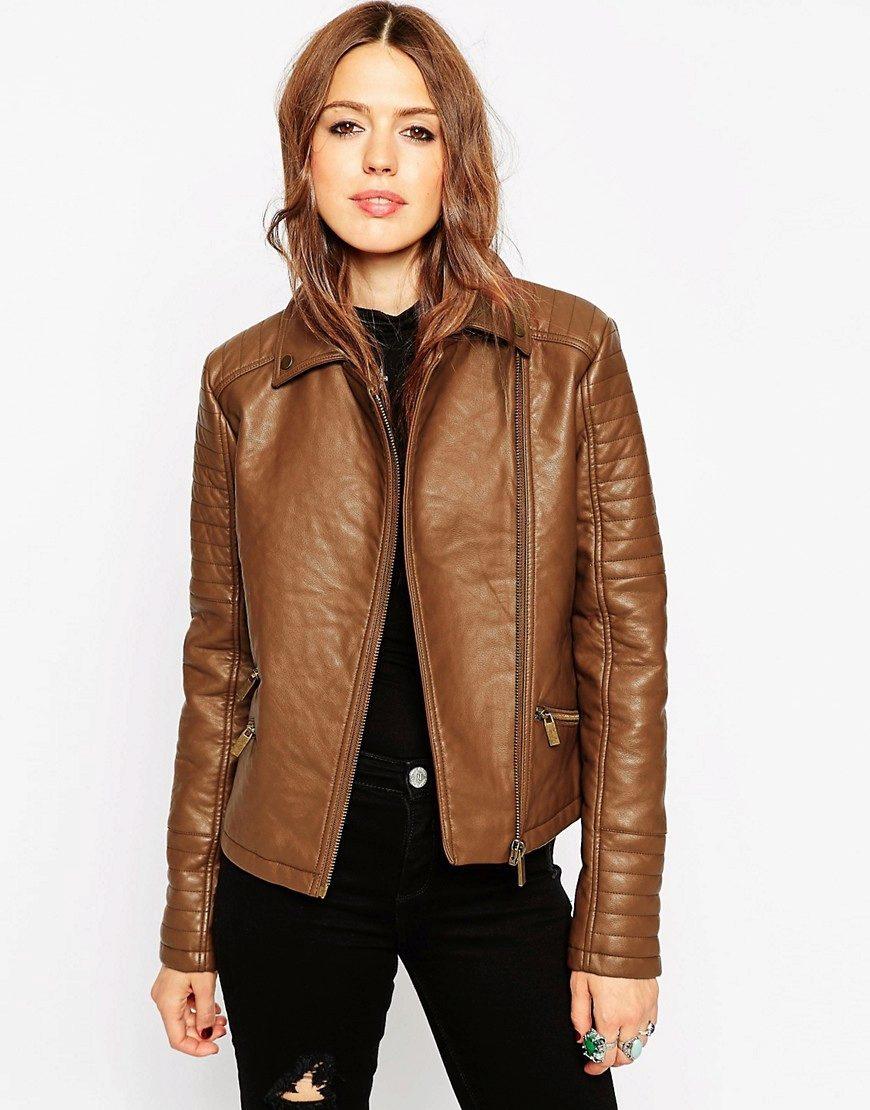 4e2e768af9f Коричневая кожаная куртка (49 фото)  с чем носить женские куртки из кожи  коричневого цвета