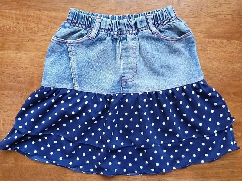 Как сшить джинсовую юбку для девочки?
