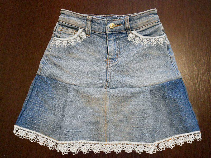 Юбка из старых джинс мастер класс подробно #4
