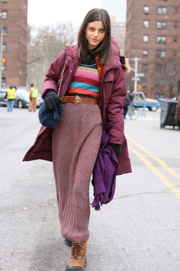 С чем носить длинные юбки зимой фото 25