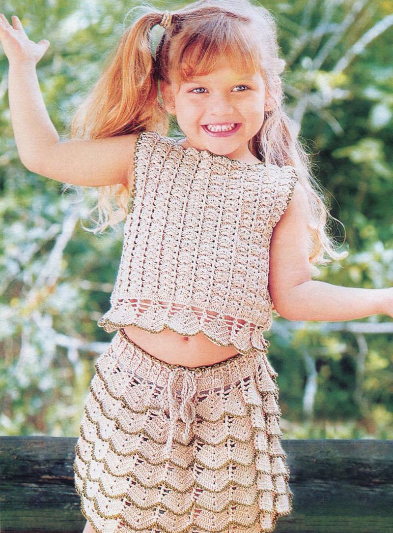 схема вязания юбки с оборками спицами для девочки