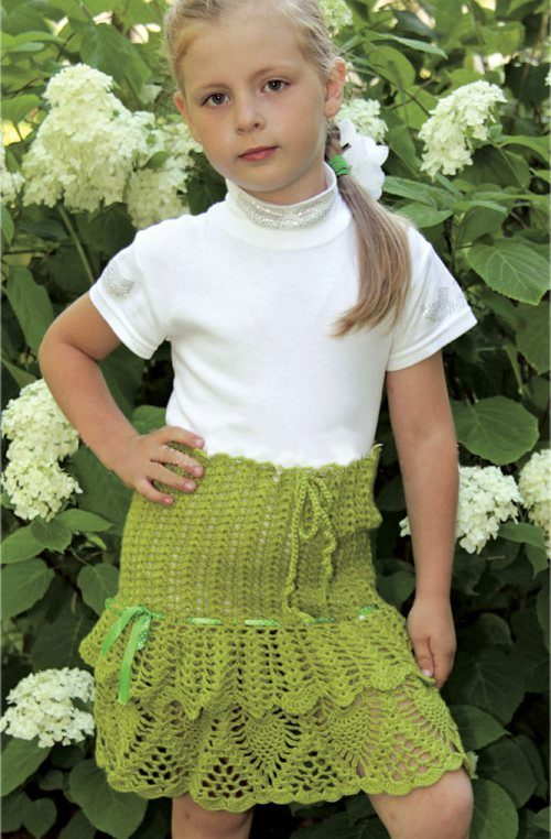 Вязаные юбки для девочек