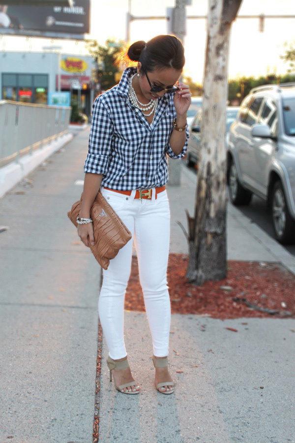 с чем носить белые джинсы летом фото