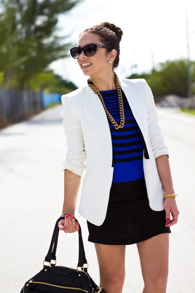 Черно белый пиджак с чем носить