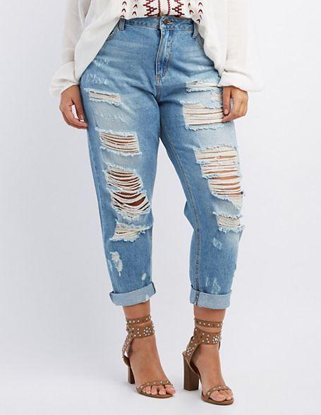 Джинсы с дырками на толстых ногах