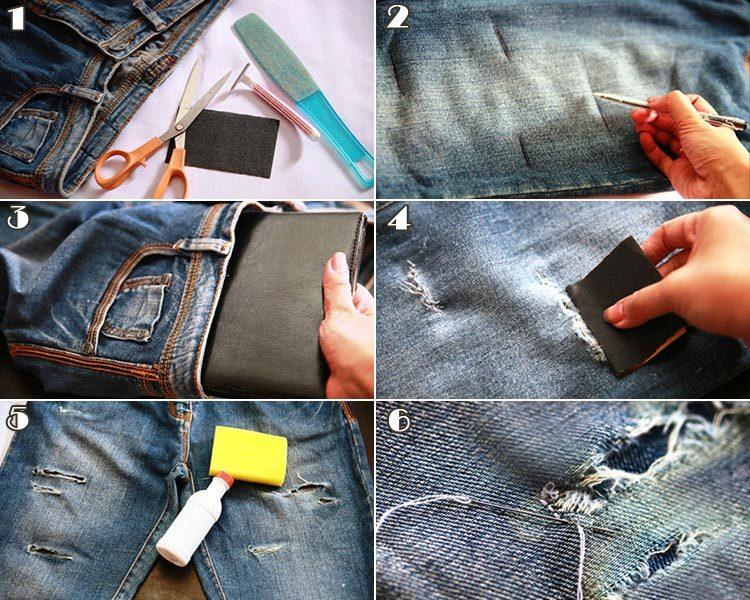 Как создать джинсам потертость