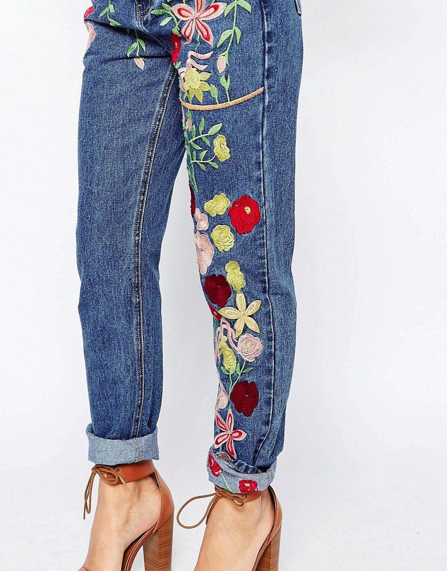 Вышивка на женских джинсах 842