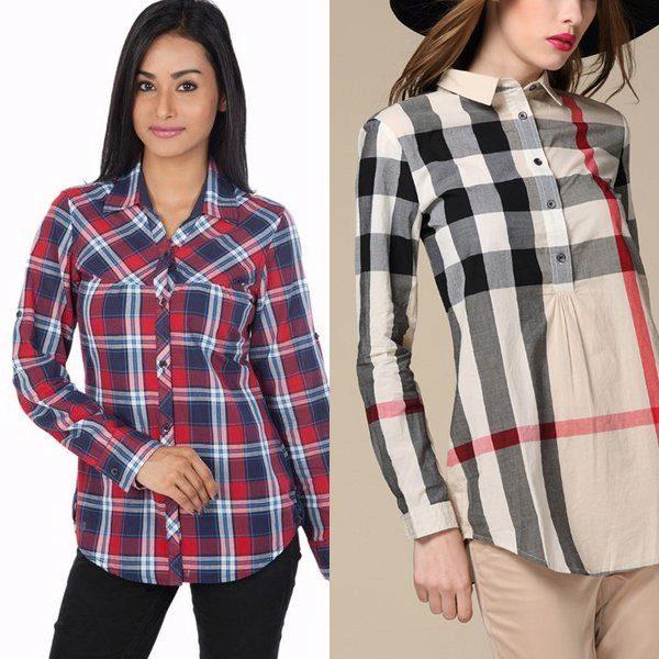 Модные рубашки в клетку женские 2017 фото