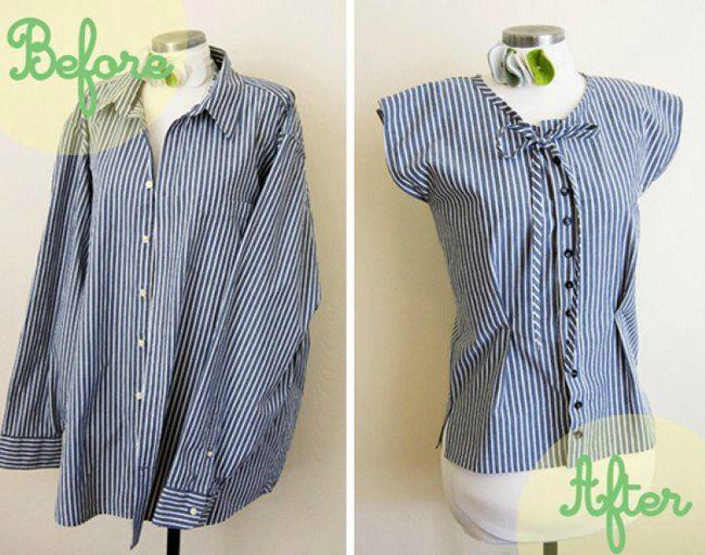 2ebc196e9d3 Как переделать мужскую рубашку в женскую блузку  как перешить и ...