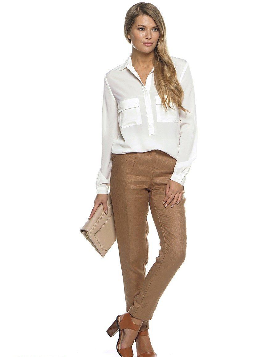 С чем носить коричневые женские брюки картинки