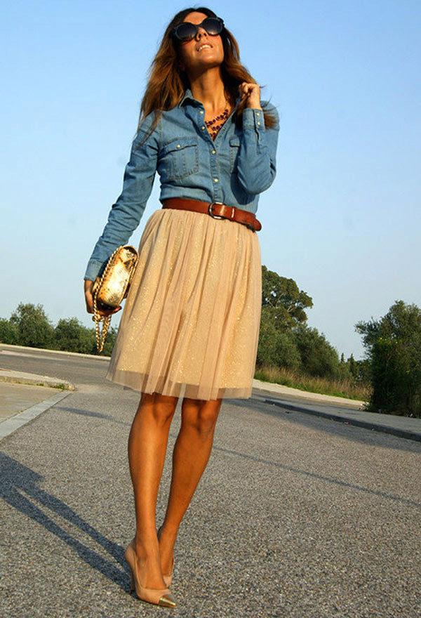 Джинсовые рубашки женские с чем носить фото
