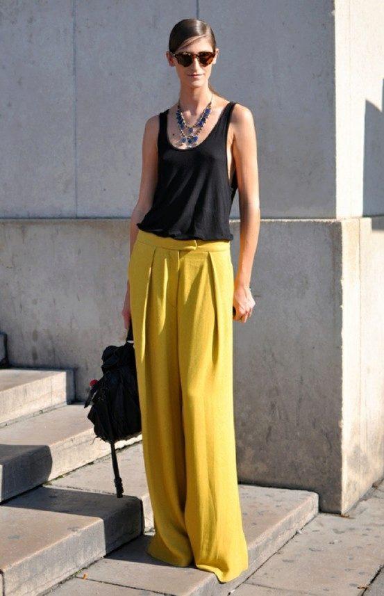 С чем носить юбку-брюки в пол