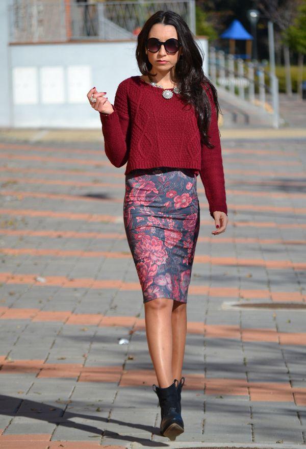 Укороченные свитера с юбкой