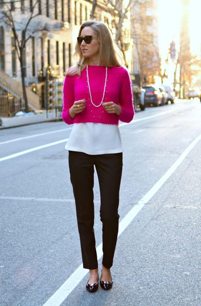 Короткий свитер с чем носить 5