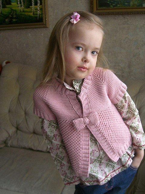 Вязанные кофты для девочек 5-6 лет