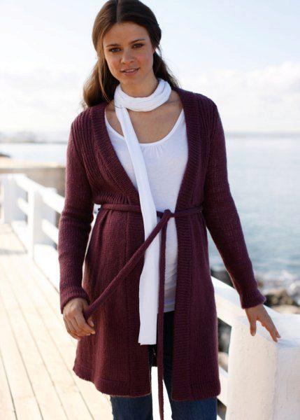 Вязаные пальто для беременных 43