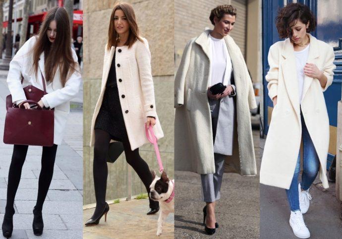 Что носить с белым пальто в клетку