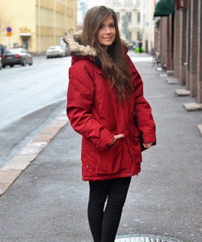 Красная зимняя парка с чем носить? - wLOOKS