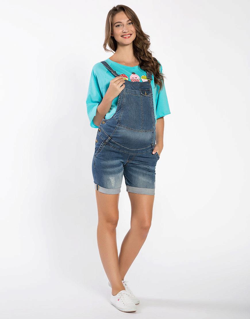 Комбинезон для беременных джинсовый с шортами 100