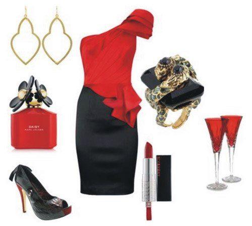 Аксессуары к красно-черному платью