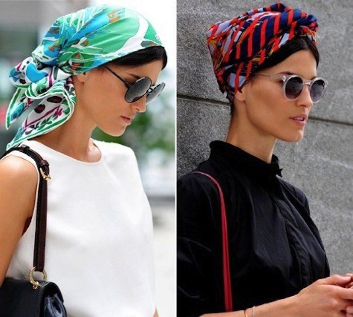 kak-krasivo-zavyazat-sharf-na-golove--141 Как красиво завязать на голову шарф разными способами? Как красиво и стильно завязать шарф на голове летом, с пальто, мусульманке?