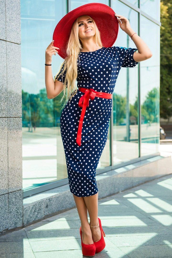 Фото синих в горошек платьев