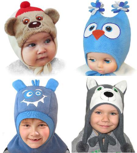 Детские шапки из флиса мордочки