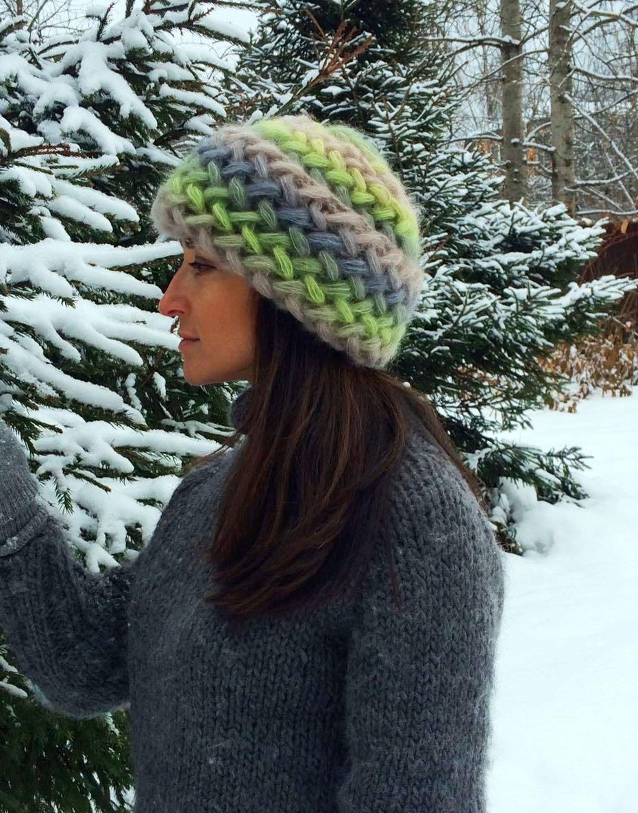 Схема вязание шапки из кид мохера