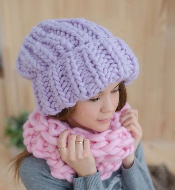 шапки крупной вязки из какой пряжи