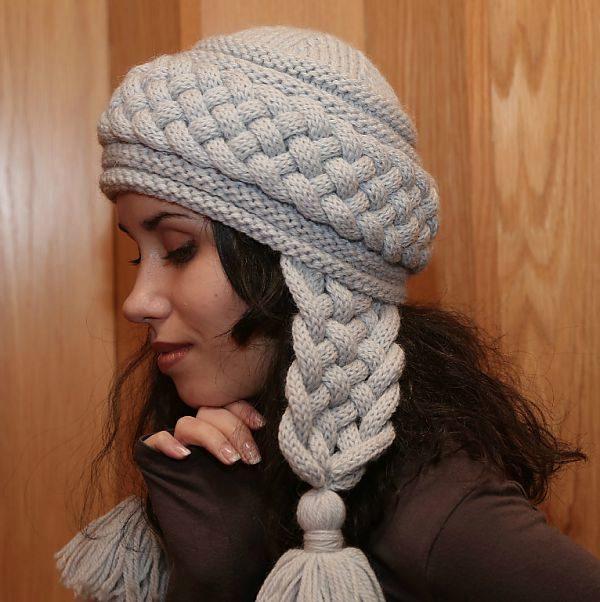 Вязание шапочки с косой 37