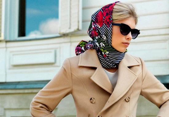 sharf-na-golovu Как красиво завязать на голову шарф разными способами? Как красиво и стильно завязать шарф на голове летом, с пальто, мусульманке?