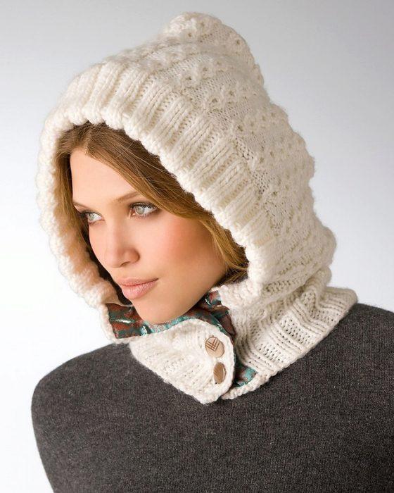 Вязанный шапка-капюшон