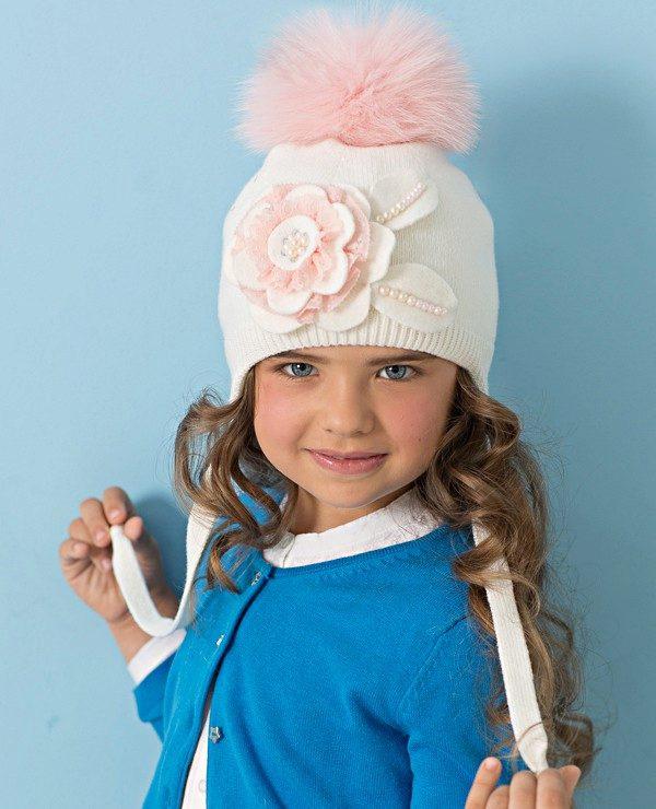 Зимние шапки для девочек (83 фото): вязаная и с помпоном ...