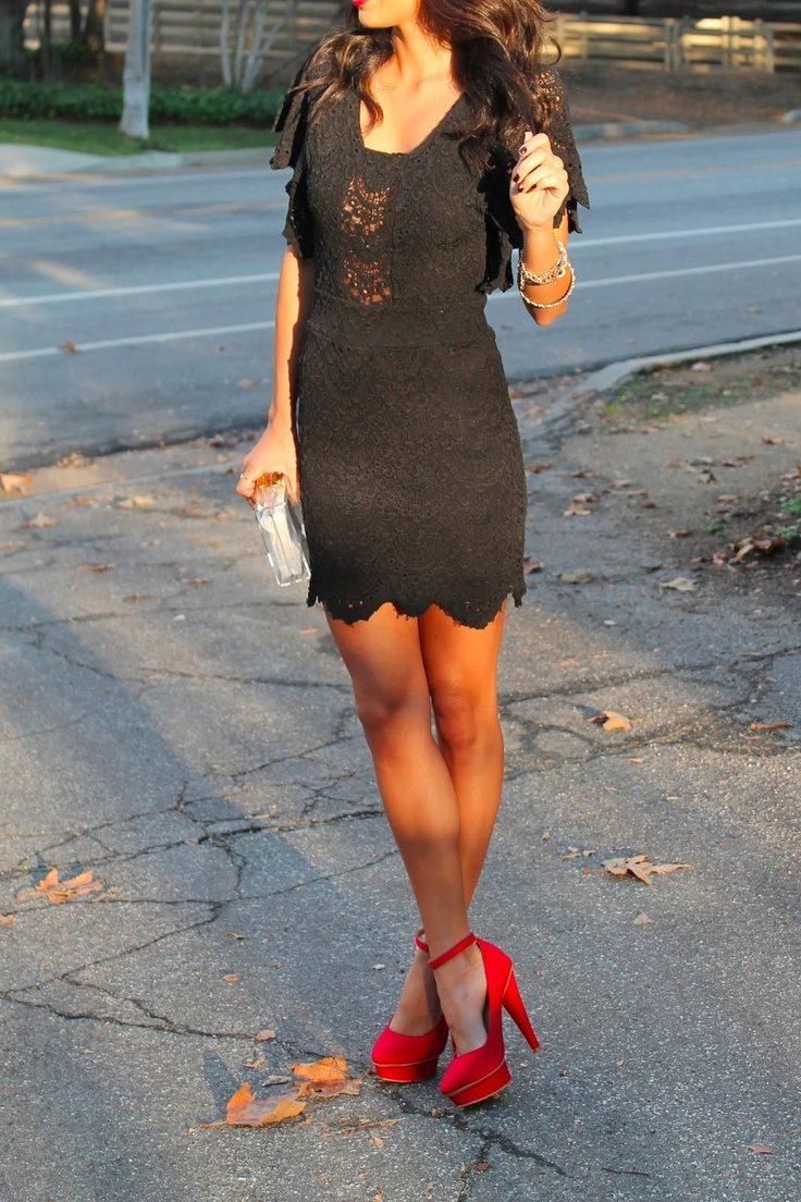 Красные туфли и черное платье картинки